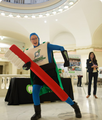 Captain Supertooth helps teach kids about proper brushing habits.